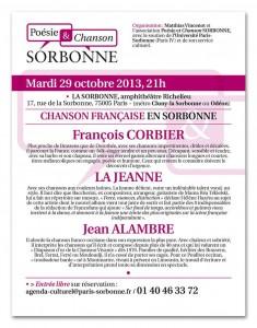 Affiche Chansons françaises en Sorbonne